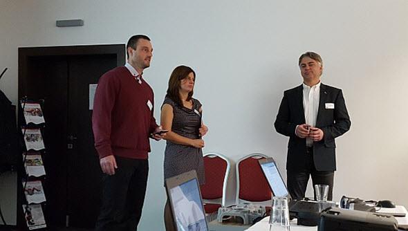 Dne 23. listopadu 2016 se konala EDU konference vhotelu Magnus vTrenčíně. Konferenci zahájili jednatel společnosti Schier Technik Slovakia Radosla Zavřel (vlevo), Katarína Hrabovská, EDU manažerka pro Slovensko (uprostřed) a Zdeněk Bašta, obchodní manažer Dassault Systèmes SolidWorks. Foto: Marek Pagáč