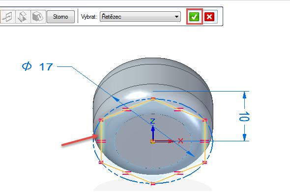 Vyberte naskicovaný polygon a potvrďte zeleným tlačítkem