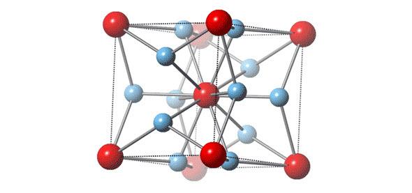 Krystalická struktura slitiny titanu a zlata v poměru 3:1. Zdroj:Rice University News and Media