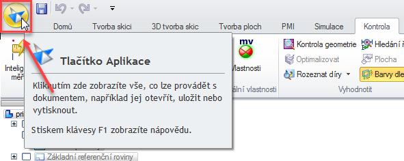 Klikněte na ikonu Tlačítko aplikacevlevo nahoře