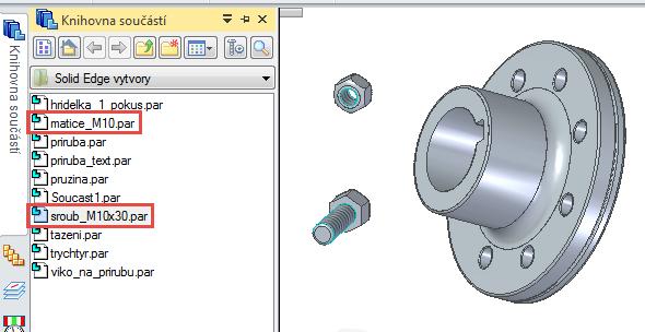Otevřete Knihovnu součástí, vyberte soubor matice M10 (pokud model matice nemáte, postupujte podle on-line návodu) a soubor šroub M10 x 30 (postup modelování šroubu najdete v našem on-line návodu)