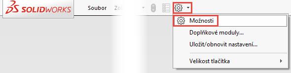 Klikněte na tlačítko Možnosti vhorním pruhu nabídky a vyberte Možnosti.