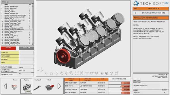 Řešení od společnosti Tech Soft 3D poskytuje rychlý přístup kdigitálním datům, včetně čtení, zápisu a publikaci ve 3D. Obrázek: Youtube.com