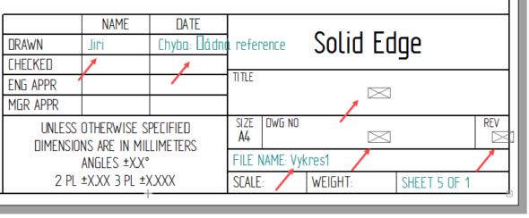 Označená pole červenou šipkou se automaticky generují podle nastavení vlastností dokumentu. Ukažme si názorně, kde tyto hodnoty editovat