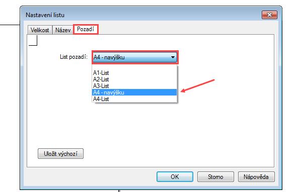Vokně Nastavení listu → Název můžete změnit název listu. Pokračujte do záložky Pozadí, kde zrozbalovací nabídky vyberte list pozadí A4 – na výšku (námi vytvoření list)