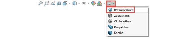 Založte nový díl a zkontrolujte vpanelu Průhledné zobrazení, zda nabídka Nastavení pohledu obsahuje tlačítko RealView