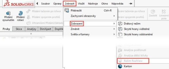 Tip: Nemožnost aktivovat zobrazovací režimy poznáte podle šedého ikony RealView vnabídce Zobrazit → Zobrazení…