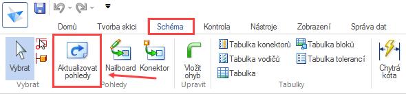Pokud se hodnoty automaticky nepřepsaly, je nutné vzáložce Schéma → Pohledy vybrat příkaz Aktualizovat pohledy