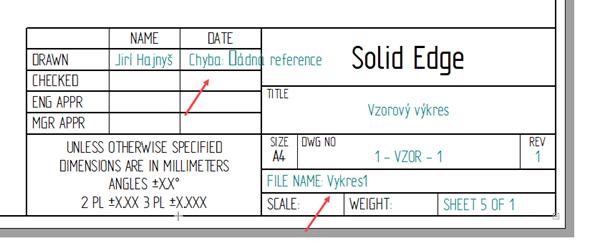 Po aktualizaci si můžete všimnout, že se nevygenerovalo datum a název souboru