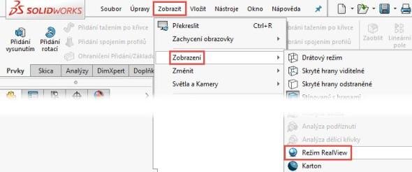 Tip: Pokud tlačítko vpanelu Průhledné zobrazení vidíte, musí být barevná ikona RealView vnabídce Zobrazit → Zobrazení.