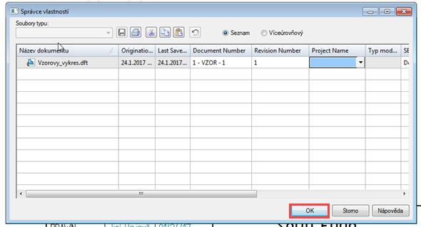 V okně Správce vlastností vyplňte zbylé náležitosti (datum se vyplní automaticky) a potvrďte tlačítkem OK