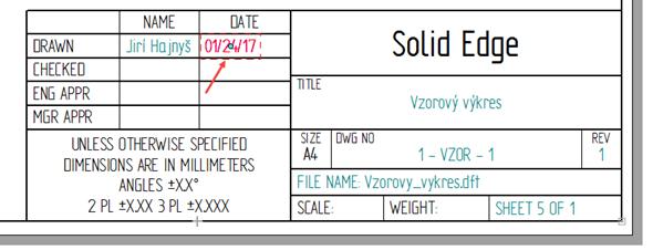 Datum se vygenerovalo vamerickém formátu. Pro změnu na evropský formát klikněte dvakrát na datum