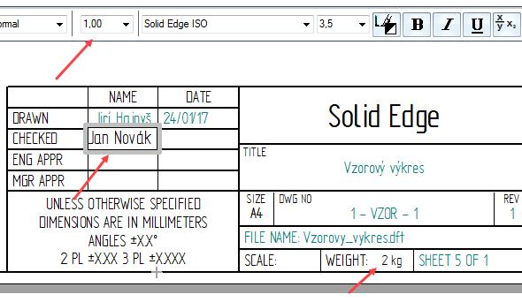 Nakreslete rámeček, kde požadujete text. Podle potřeby upravte velikost písma, zarovnání a další úpravy formátování textu. Popisové pole je vyplněno