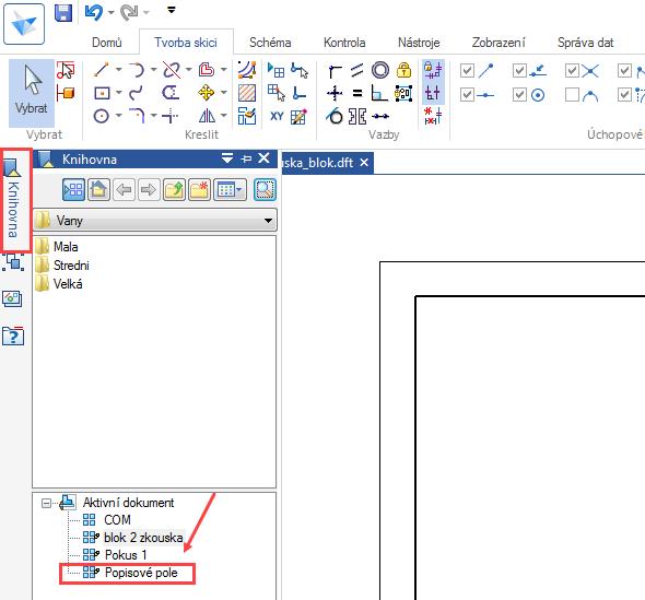 Zknihovny na levé straně obrazovky vyberte vytvořený blok snázvem Popisové pole a tažením jej umístěte do dolního pravého rohu
