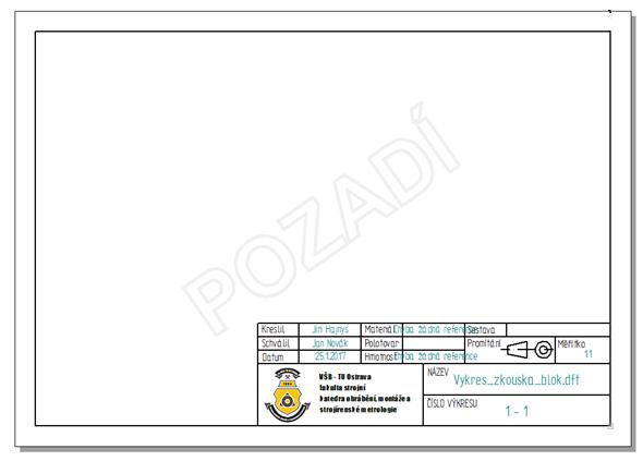 Hotové vyplněné popisové pole na formátu A4 – na šířku (materiál a hmotnost se vyplní až svloženým modelem).