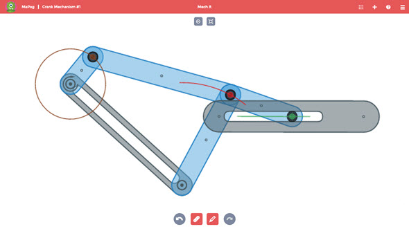 V pohybové studii vykreslí nástroj Marker trajektorii pohybu pomyslného bodu