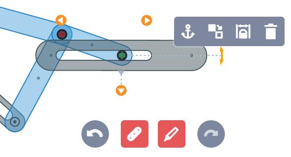 Konstrukce klikového mechanismu je intuitivní. Pro návrh slouží sada nástrojů, s nimž můžete upravovat délku, šířku, polohu, odebírat stupně volnosti a přidávat otáčivý pohyb