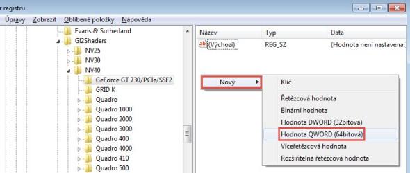 Klikněte pravým tlačítkem do pravého pole a zkontextového panelu vyberte příkaz Nový → Hodnota QWORD (64bitová).