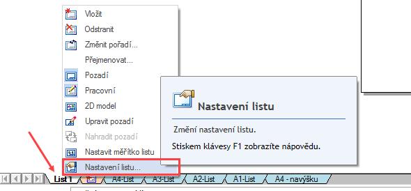 Na dolní liště klikněte pravým tlačítkem na List 1 a zvolte Nastavení listu