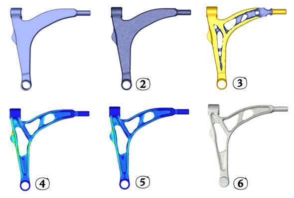 Topologická optimalizace klíční kosti s Tosca Structure v řešení Simulia. Obrázky: Dassault Systèmes Simulia