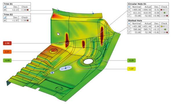 Přesná průmyslová 3D metrologie se uplatňuje také v procesech tváření plechových výlisků (obr.: MCAE Systems)