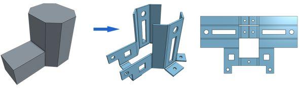 Nový nástroj umožňuje i převedení objemového modelu vplechový díl. Obrázek: Onshape