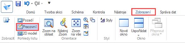 Otevřete si dokument, který jste vytvořili podle návodu Editace popisového pole a ukončete práci vprostředí Pozadí. Aktivujte příkaz Pracovní v záložce Zobrazení → Pohledy listu.
