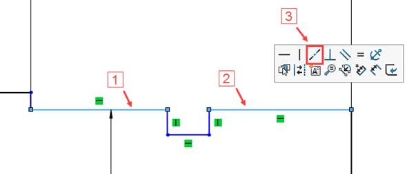 Tip: Při kótování dvou stejných průměrů stačí zakótovat jednu přímku a druhou určit pomocí vazby Kolineární. Držte klávesu Ctrl, označte okótovanou přímku (1) a přímku, u které požadujete stejný průměr (2) a zkontextové nabídky zvolte vazbu Kolineární (3)