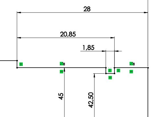 Drážka pro pojistný kroužek je normalizovaná a její rozměry (šířka a průměr zahloubení drážky) je nutné dohledat ve Strojnických tabulkách. Vnašem případě zakótujte šířku drážky 1,85 mm a průměr 42,5 mm. Vzdálenost drážky od hrany čepu zakótujte vodorovnou kótou 20,85 mm