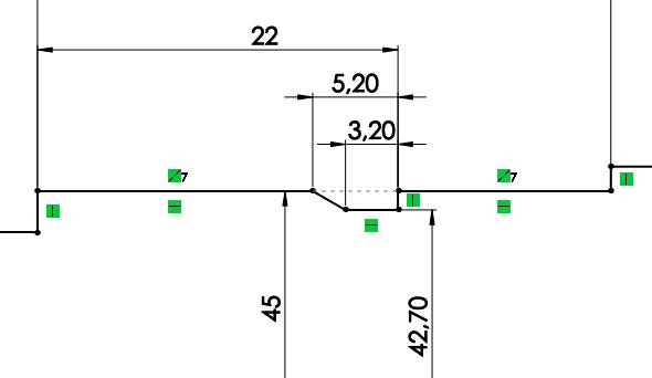Dalším normalizovaným prvkem je výběh závitu. Jeho rozměry se odvíjí od rozteče závitu. Pro závit M45 × 1,5 zakótujte délky: 5,2 mm, 3,2 mm a průměr 42,7 mm. Zakótujte délku závitu včetně výběhu hodnotou 22 mm. Ta odpovídá vzdálenosti od levé strany čepu ke konci výběhu závitu