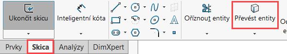 Vzáložce Skica klikněte na malou černou šipku vedle příkazu Přímka a vyberte příkaz Osa