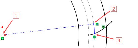 Počáteční bod osy umístěte do počátku (1) a koncový bod na roztečnou kružnici (2). Pokračujte načrtnutím Tečného oblouku (použijte klávesu A) a jeho koncový bod umístěte na evolventu (3)