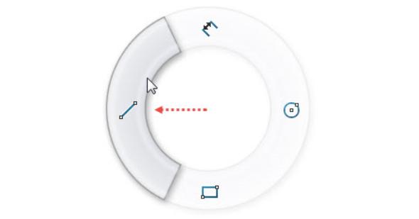 Levým gestem myši (stiskněte pravé tlačítko v grafické ploše a táhněte kurzorem doleva) vyberte příkaz Přímka