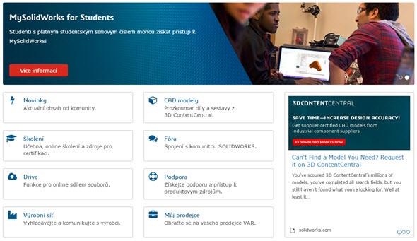 Stránky a popisy dostupných praktických prvků jsou na komunitním portálu MySolidWorks v češtině