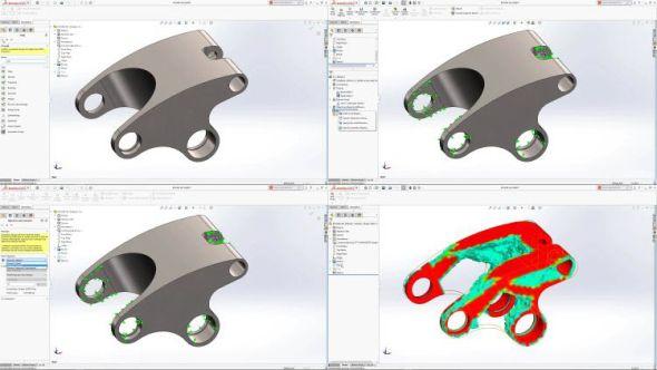 Generativní navrhování vSolidWorksu 2018 pomůže optimalizovat tvar modelů sohledem na okrajové podmínky a pevnostní namáhání. Ta dokáže snížit hmotnost modelů až o 30 procent