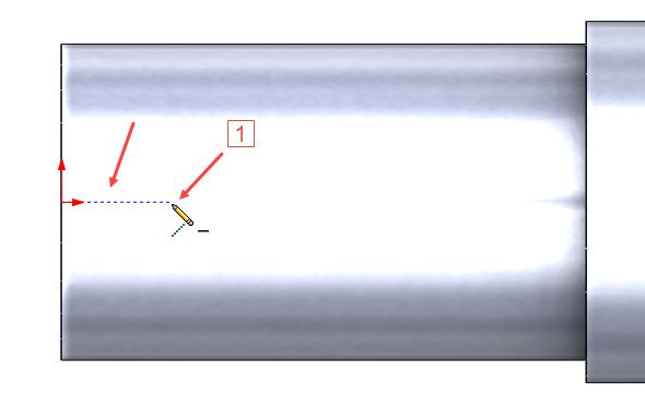 Kliknutím umístěte počáteční bod osy drážky v místě jako na obrázku (1) tak, abyste viděli modrou čárkovanou čáru ve směru od počátku