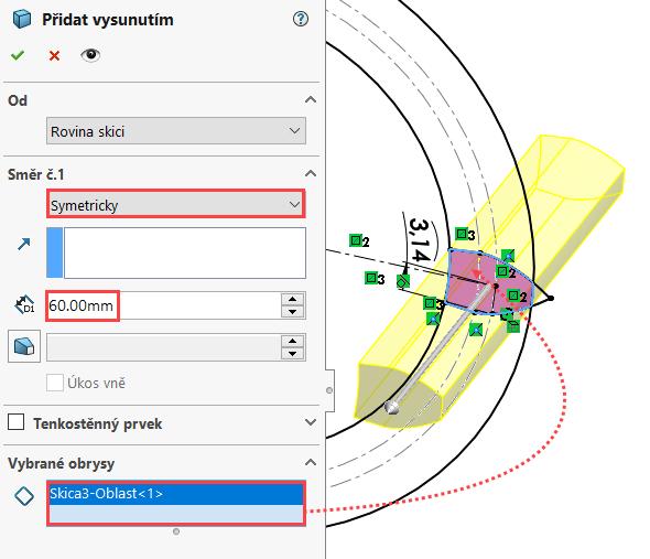 Vpoli Směr č. 1 zvolte možnost vysunutí Symetricky a vzdálenost nastavte na 60 mm. Do pole Vybrané obrysy vyberte uzavřený profil zubu označený červenou šipkou. Zkontrolujte náhled a dokončete příkaz. Uložte dokument (Ctrl + S)
