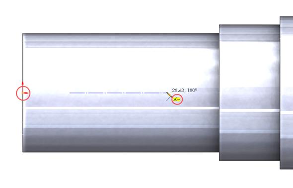 Táhněte směrem doprava (dbejte na vytvoření vazeb Vodorovná a Sjednocená → symbol vazby musí být ve žlutém poli) a umístěte koncový bod přímky (2). Pohybem nahoru nebo dolů roztáhnete šířku drážky a kliknutím určete její šířku → drážka se automaticky zakótuje. Rozměry drážky jsou normalizované a najdete je ve Strojnických tabulkách