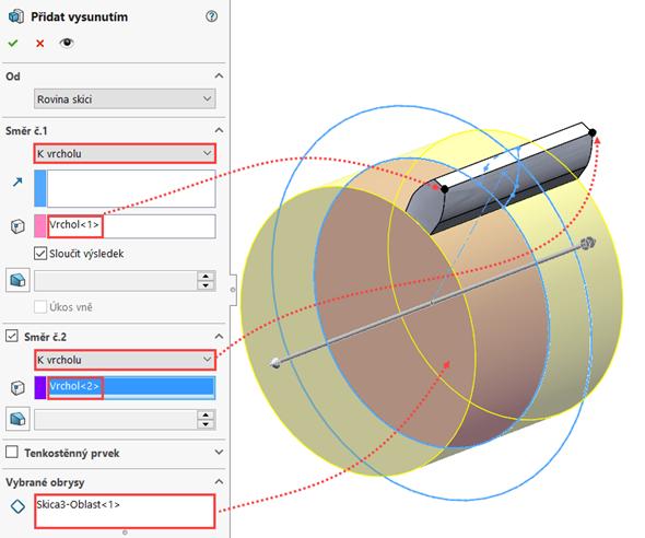 Vpolích Směr č. 1, Směr č. 2 nastavte možnost vysunutí Kvrcholu a vyberte vrcholy zubu označené šipkami. Do pole Vybrané obrysy vyberte oblast patní kružnice. Zkontrolujte náhled a potvrďte dokončení příkazu. Uložte dokument (Ctrl + S)