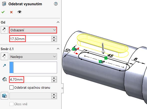 VPropertyManageru Odebrat vysunutím vpoli Od vyberte možnost Odsazení. Hodnota odsazení se musí rovnat poloměru daného čepu, tedy 17,5 mm (hodnotu můžete zapsat jako rovnici 35/2, SolidWorks ji vypočítá automaticky). Vpoli Směr č. 1 zadejte hloubku odebrání 4,7 mm.
