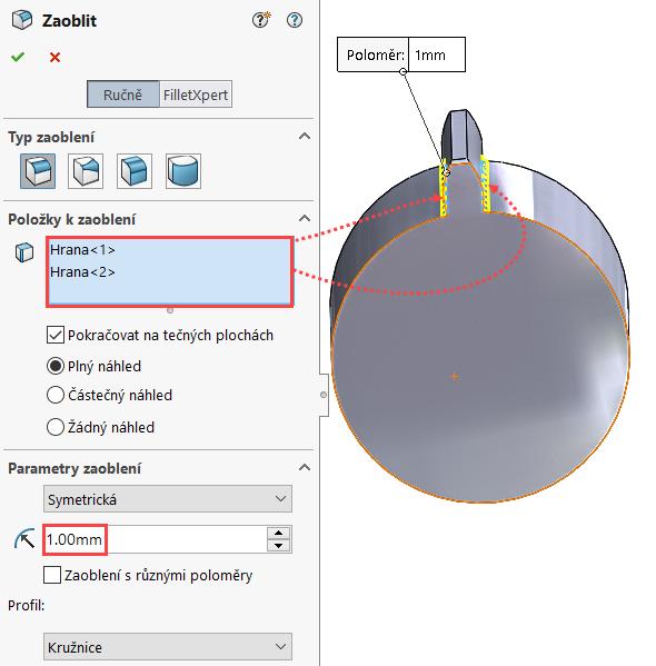 Do pole Položky kzaoblení přidejte hrany označené červenou šipkou a nastavte poloměr zaoblení na 1 mm