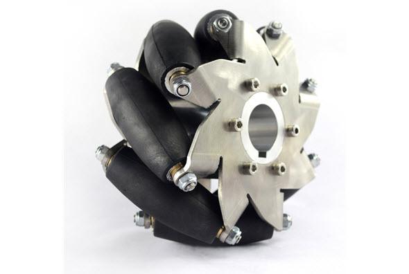 Konstrukce kol Mecanum je sestavena zválečků uspořádaných vúhlu 45 stupňů vůči ose. Foto: Microrobo.com