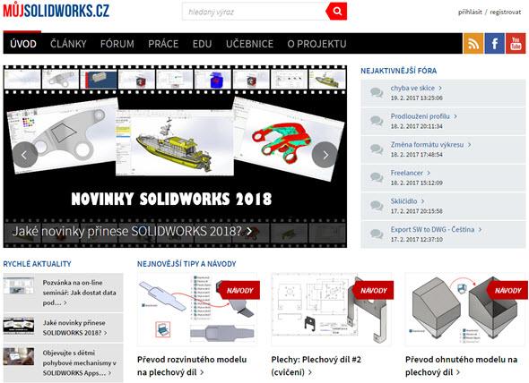 Portál MujSolidWorks.cz má všechny praktické prvky v českém jazyce – včetně návodů, diskusního fóra a novinek