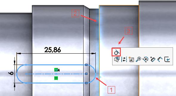 Vnáčrtu drážky postupujte analogicky jako vpředchozím případě. Šířku a hloubku drážky pro MB podložku zjistíte ve Strojnických tabulkách podle šířky zubu MB podložky, který do drážky zapadá. Kótu šířky změňte na 6 mm. Vytvořte tečnou vazbu oblouku k výběhu závitu (stiskněte klávesu Ctrl, označte pravý oblouk drážky (1), hranu výběhu závitu (2) a zkontextové nabídky vyberte vazbu Tečná (3))