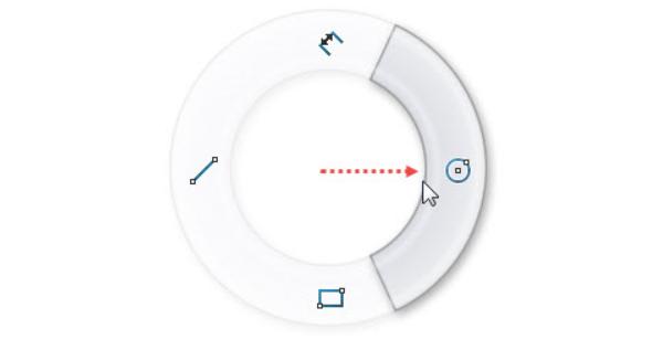Pravým gestem myši (stiskněte pravé tlačítko v grafické ploše a táhněte kurzorem doprava) vyberte příkaz Kružnice
