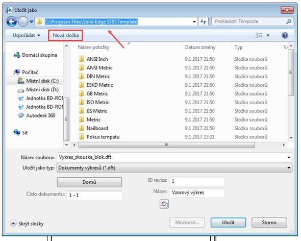 Pro umístění souboru šablony vyhledejte adresář C:\Program Files\Solid Edge ST9\Template (nebo výchozí umístění instalačního adresáře řešení Solid Edge). Zde vytvořte nový adresář tlačítkem Nová složka