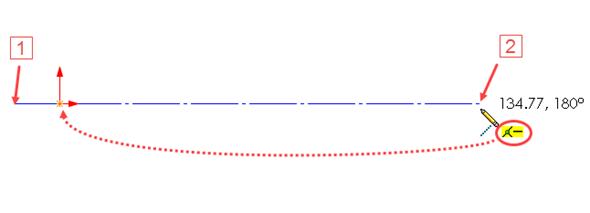 Nakreslete vodorovnou osu, jejíž počáteční bod leží vlevo od počátku souřadného systému (1) a koncový bod vpravo (2). Osa musí procházet počátkem (vytvoří se vazba Sjednocená). Dbejte také na vytvoření vazby Vodorovná. Obě vazby se musí zobrazit vedle kurzoru ve žlutém poli