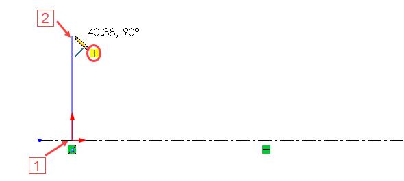 Počáteční bod přímky umístěte do počátku (1) a koncový bod ve svislém směru nahoru nad počátek (2)