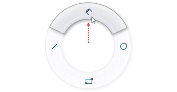 Horním gestem myši (stiskněte pravé tlačítko v grafické ploše a táhněte kurzorem nahoru) vyberte příkaz Inteligentní kóta