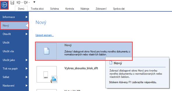 Při vytváření nového dokumentu s připravenou šablonou zvolte tlačítko Nový